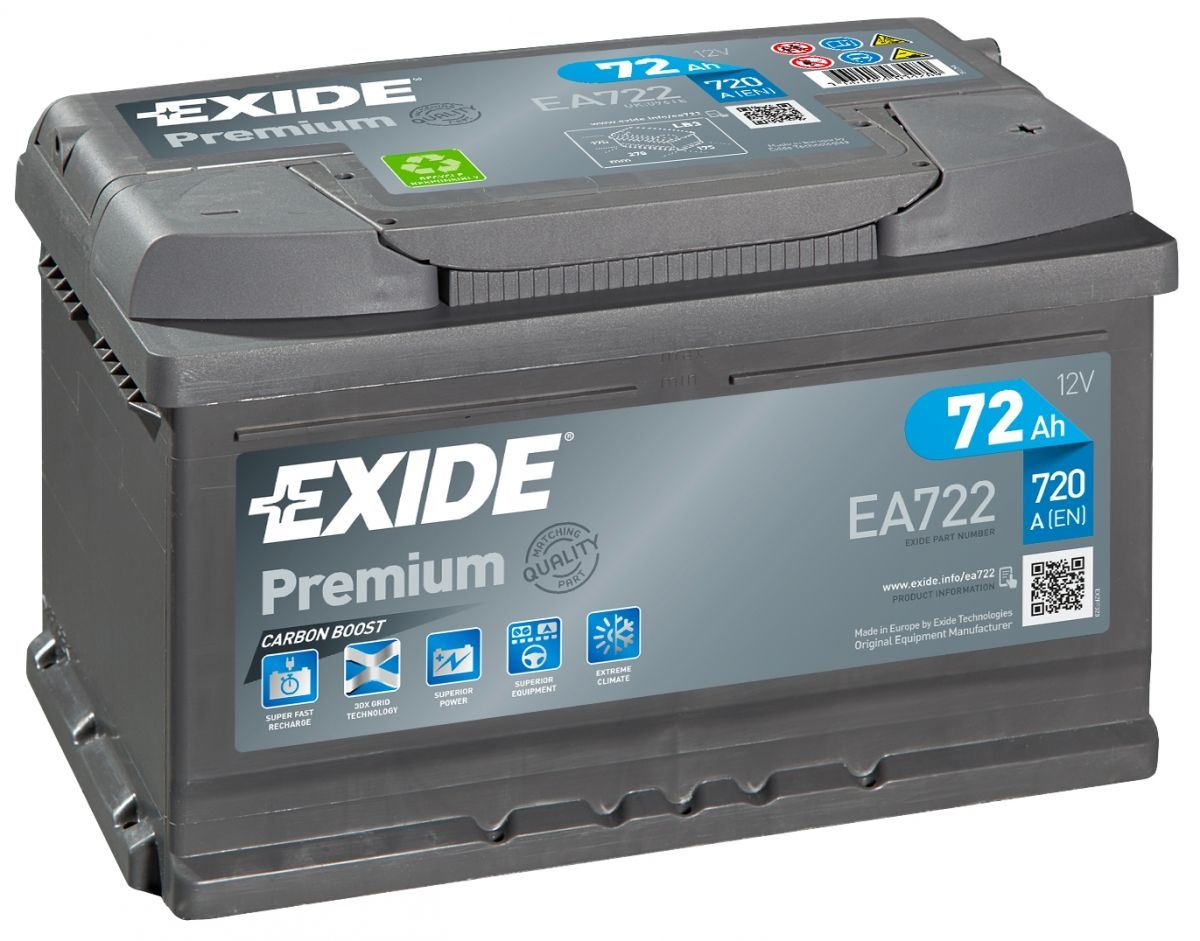 Imagen de Batería EXIDE EA722 (equivale a TUDOR TA722) Premium Carbon Boost