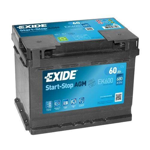 Imagen de Batería EXIDE EK600 Start-Stop AGM (equivale a TUDOR TK600)