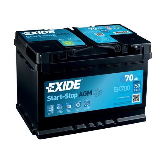 Imagen de Batería EXIDE EK700 Start-Stop AGM (equivale a TUDOR TK700)