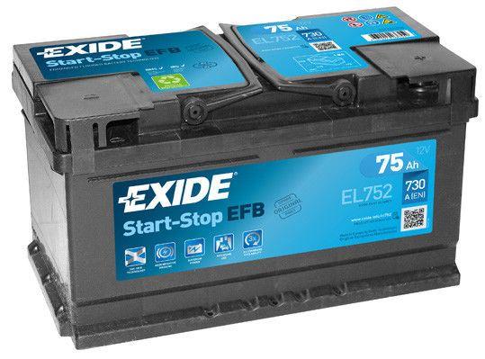 Imagen de Batería EXIDE EL752 (equivale a TUDOR TL752) Start-Stop EFB